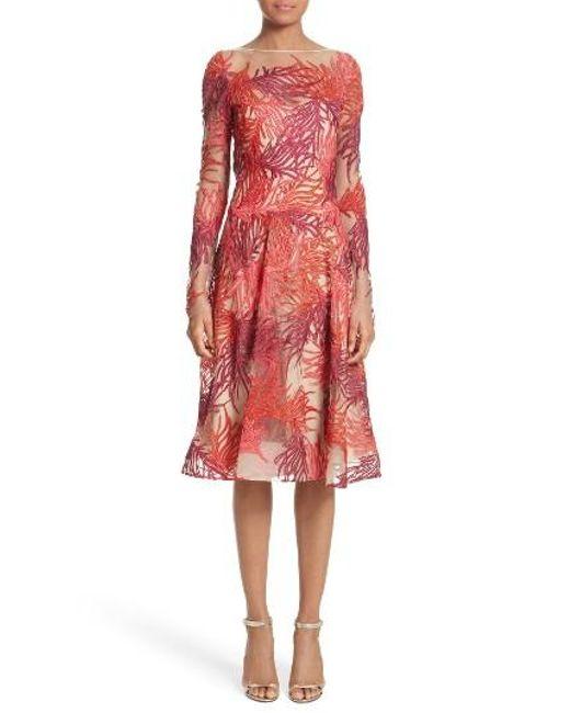Naeem Khan   Red Threadwork Long Sleeve Dress   Lyst