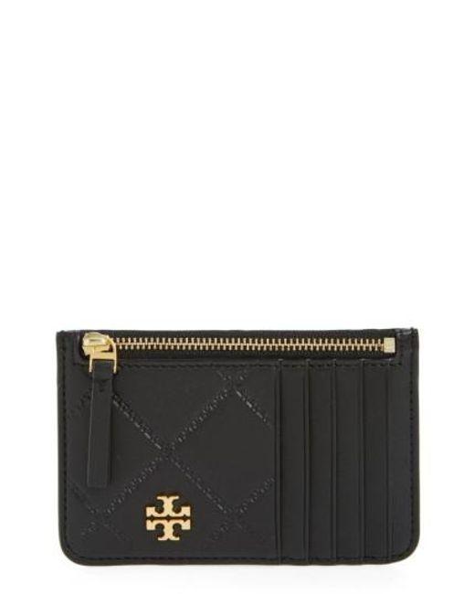Tory Burch | Black Georgia Leather Card Case | Lyst