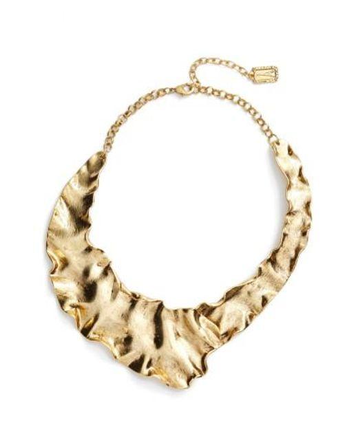 Karine Sultan   Metallic Gold Plate Collar Necklace   Lyst