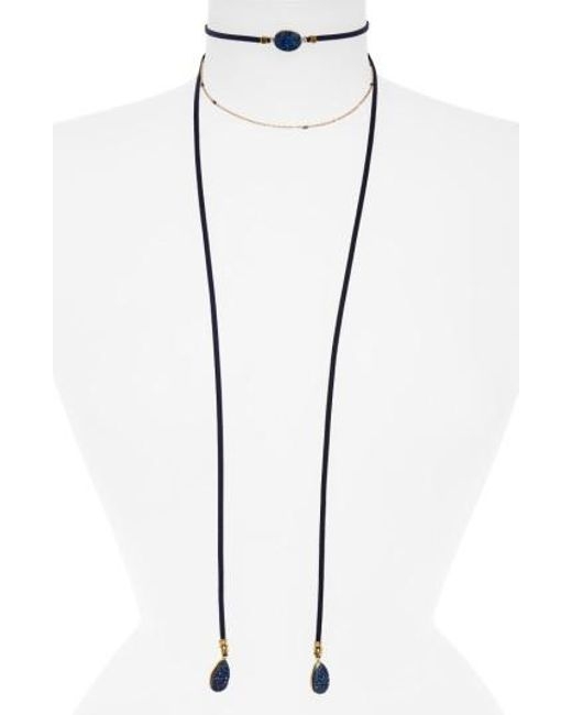 Panacea | Blue Drusy Wrap Necklace | Lyst