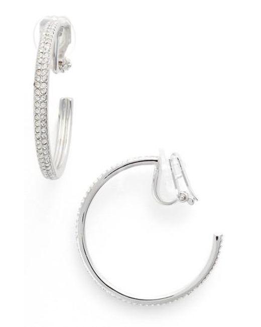 Nadri | Metallic Clip-on Hoop Earrings | Lyst