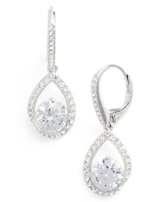 Nadri   Metallic Cubic Zirconia Pear Drop Earrings   Lyst