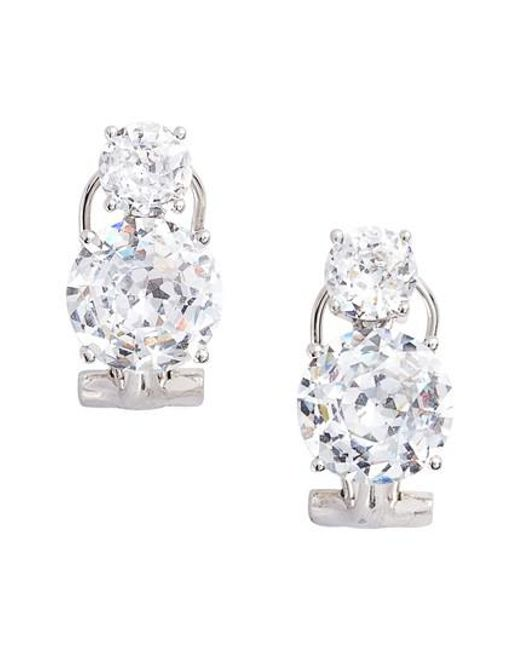 Nadri | Metallic Double Cubic Zirconia Clip Stud Earrings | Lyst