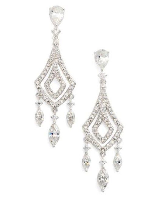 Nadri | Metallic Cubic Zirconia Chandelier Earrings | Lyst