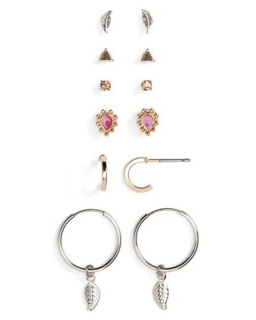 TOPSHOP | Metallic Feather Earrings (6 Pairs) | Lyst