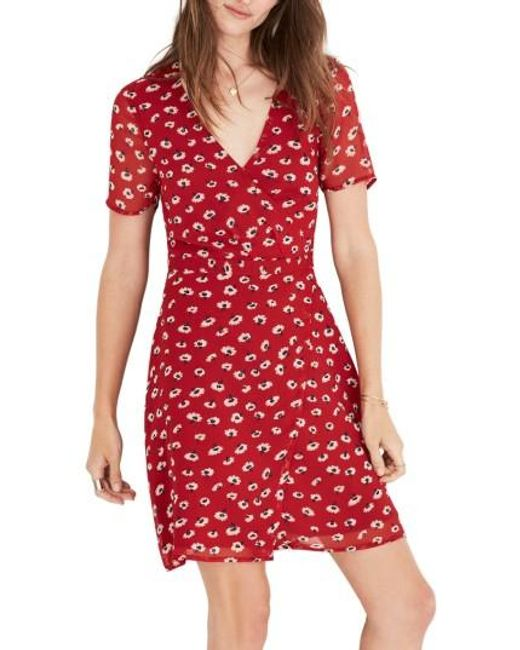 Madewell Floral Faux Wrap Dress In Red Lyst