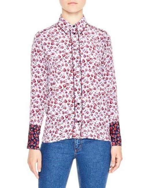 Sandro | Purple Floral Print Silk Shirt | Lyst