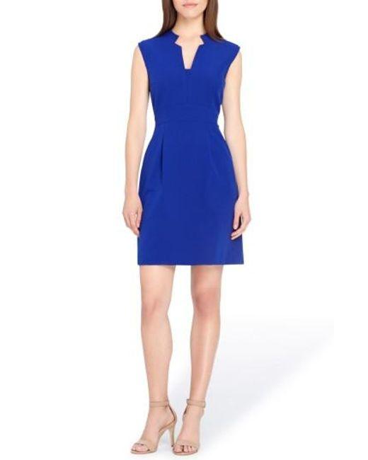 Tahari | Blue Notch Neck Sheath Dress | Lyst