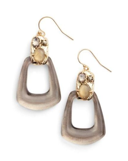 Alexis Bittar | Metallic Lucite Smoky Quartz Drop Earrings | Lyst