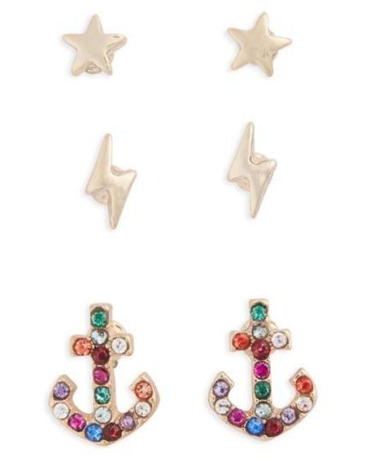 TOPSHOP | Metallic Pack Of 3 Star, Lightning & Anchor Stud Earrings | Lyst