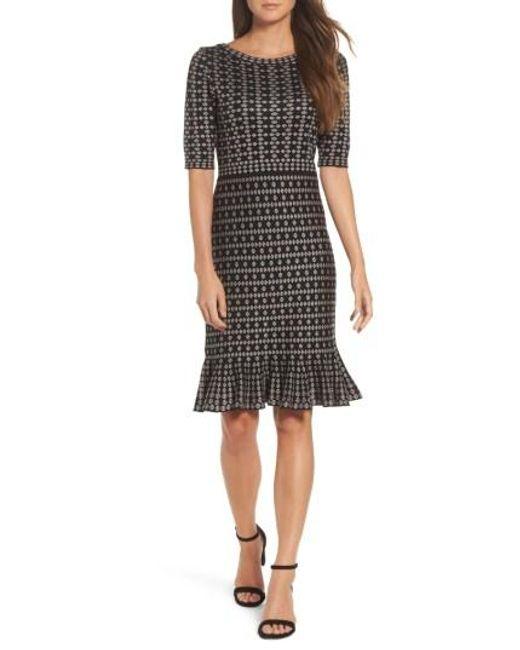 Taylor Dresses | Black Flounce Hem Sweater Dress | Lyst