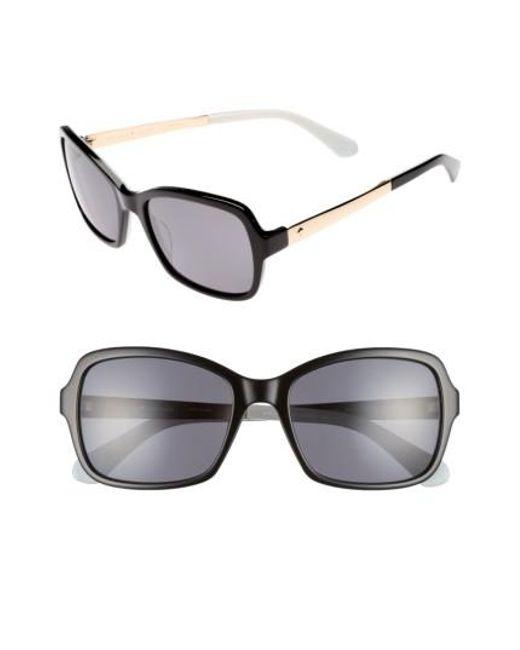Kate Spade | Black Annjanette 55mm Polarized Sunglasses | Lyst