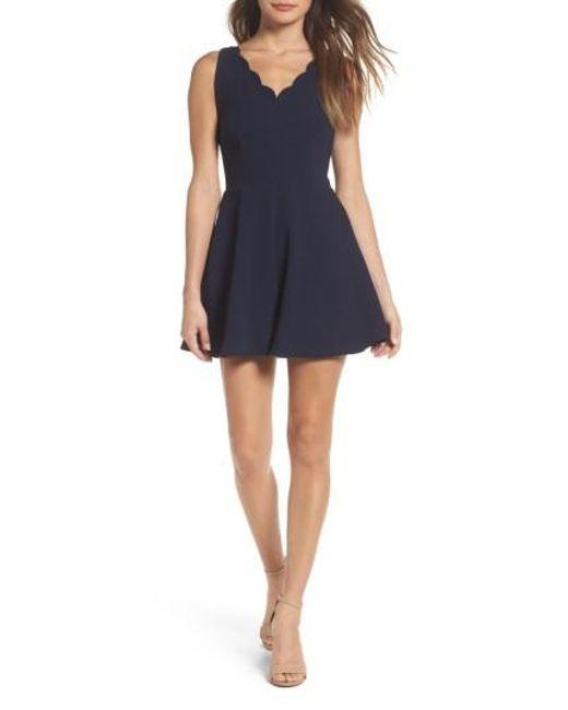 19 Cooper | Blue Crepe Fit & Flare Dress | Lyst