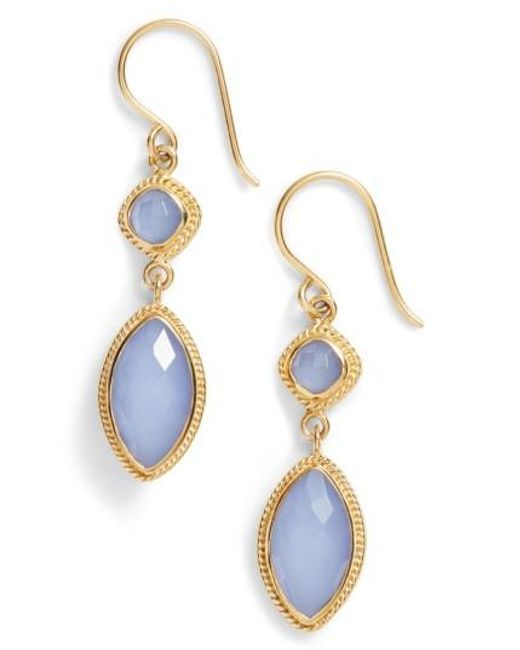 Anna Beck | Blue Double Drop Semiprecious Stone Earrings | Lyst