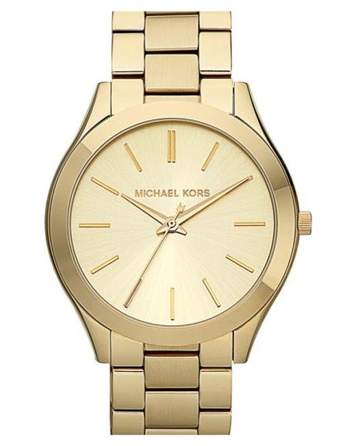 Michael Kors   Metallic 'slim Runway' Bracelet Watch   Lyst