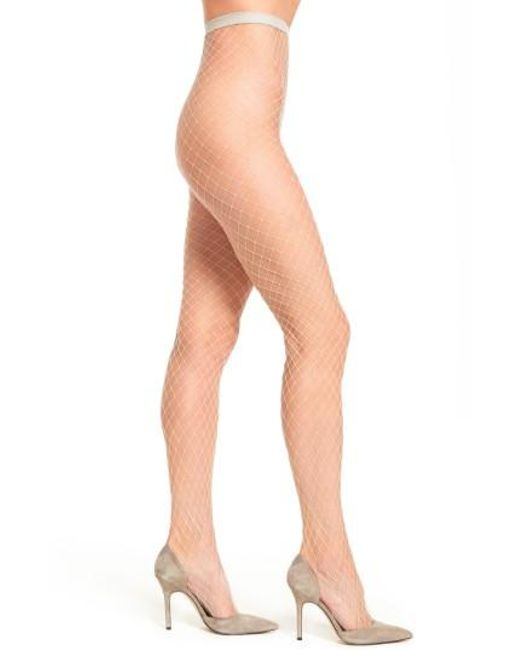Free People | Natural Libby Fishnet Tights | Lyst