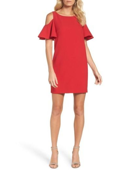 Chetta B | Red Ruffle Cold Shoulder Shift Dress | Lyst