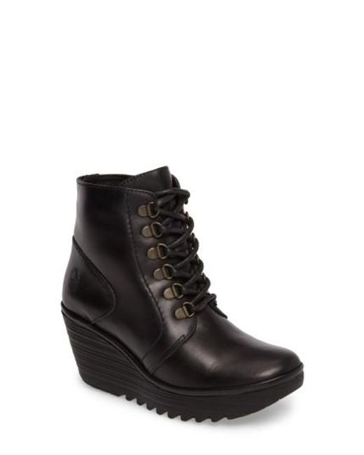 Fly London | Black Yarn Lace-up Wedge Boot | Lyst