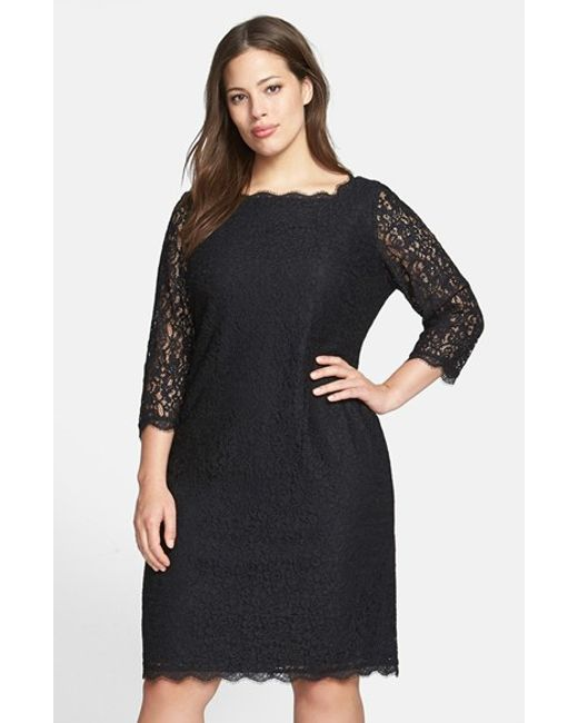 Adrianna Papell | Black Lace Overlay Sheath Dress | Lyst