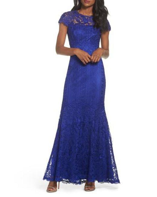Tadashi Shoji - Blue Lace Mermaid Gown - Lyst