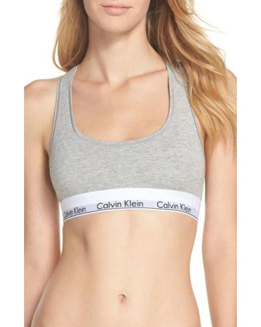 Calvin Klein | Black 'modern Cotton Collection' Cotton Blend Racerback Bralette | Lyst