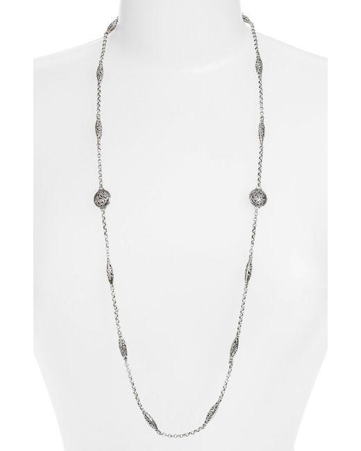 Konstantino - Metallic 'silver Classics' Long Filigree Station Necklace - Lyst
