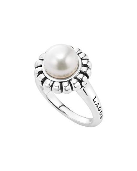 Lagos | White 'luna Pearl' Fluted Ring | Lyst