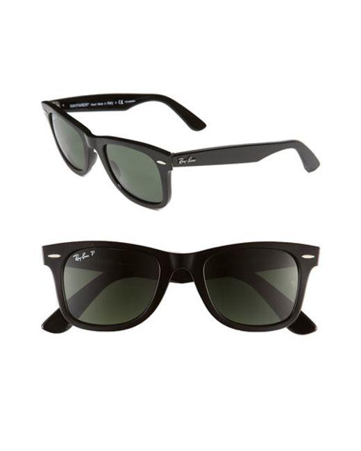Ray-Ban | Black 'classic Wayfarer' 50mm Polarized Sunglasses | Lyst
