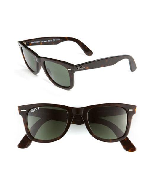 Ray-Ban   Black Standard Classic Wayfarer 50mm Polarized Sunglasses   Lyst