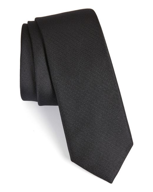 Calibrate Black Clara Solid Silk Tie for men