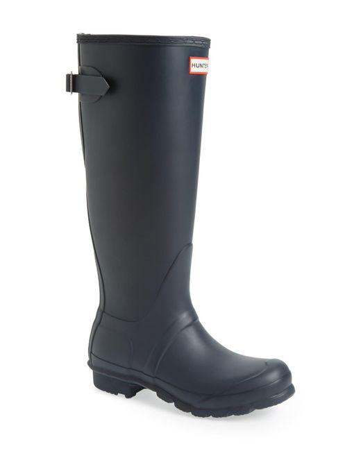 Hunter Black Original Tall Adjustable Back Waterproof Rain Boot