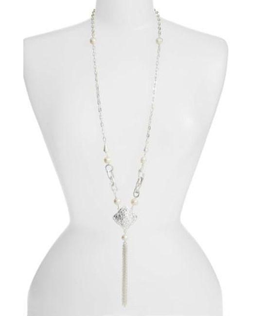 Karine Sultan - Metallic Long Y-necklace - Lyst