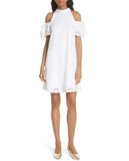 Ted Baker - White Semarra Embroidered Cold Shoulder Dress - Lyst