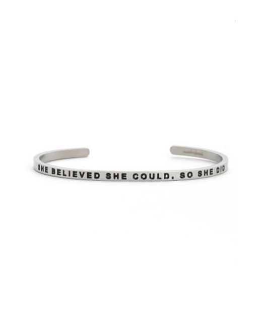 Mantraband | Gray 'she Believed She Could' Cuff | Lyst