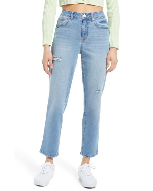 1822 Denim Blue High Waist Distressed Straight Leg Jeans