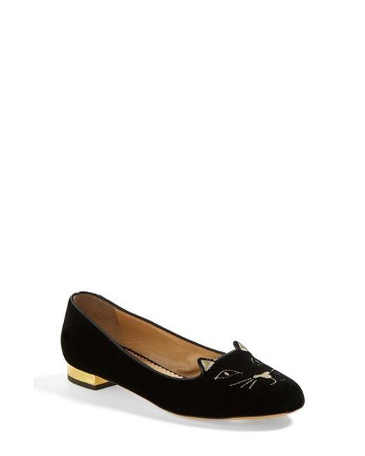 Charlotte Olympia | Black Sleeping Kitty Velvet Slippers | Lyst