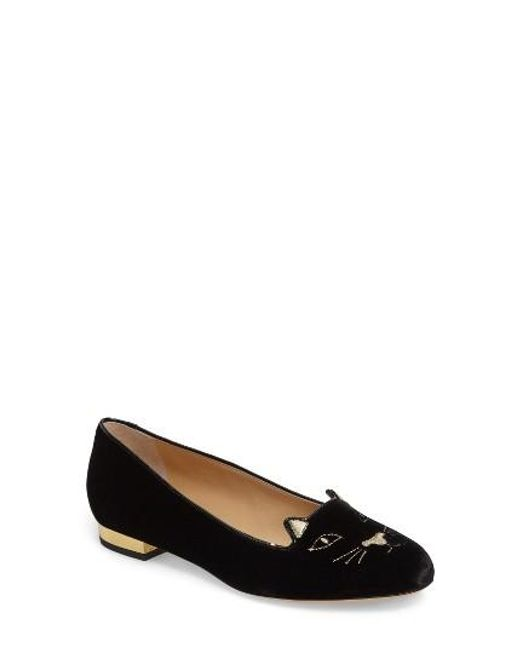 Charlotte Olympia | Blue Kitty Embroidered Velvet Flats | Lyst