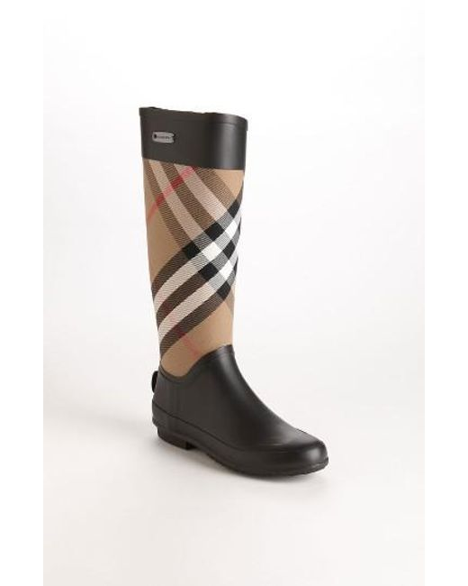 Burberry | Black Clemence Rubber Rainboots | Lyst