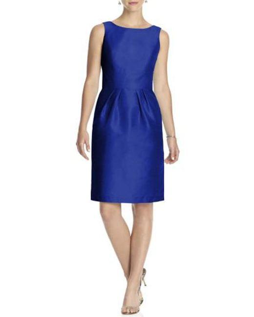 Alfred Sung | Blue Boatneck Sheath Dress | Lyst