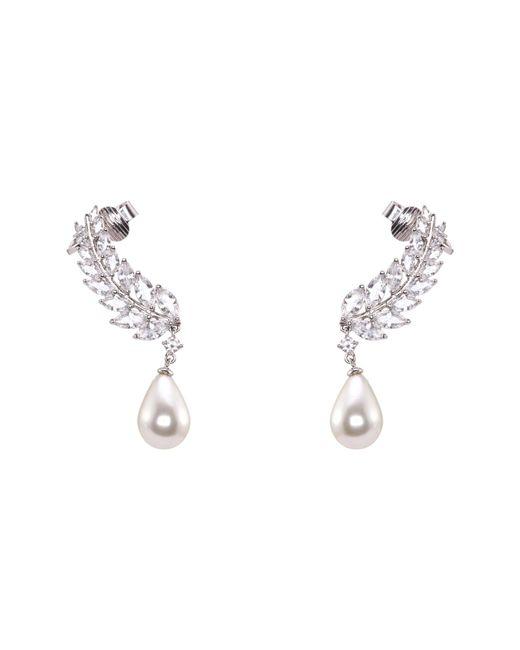 Nina - Metallic Fern Imitation Pearl Ear Cuffs - Lyst