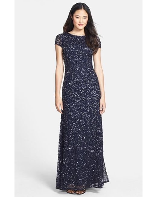 Adrianna Papell | Blue Short Sleeve Sequin Mesh Gown | Lyst