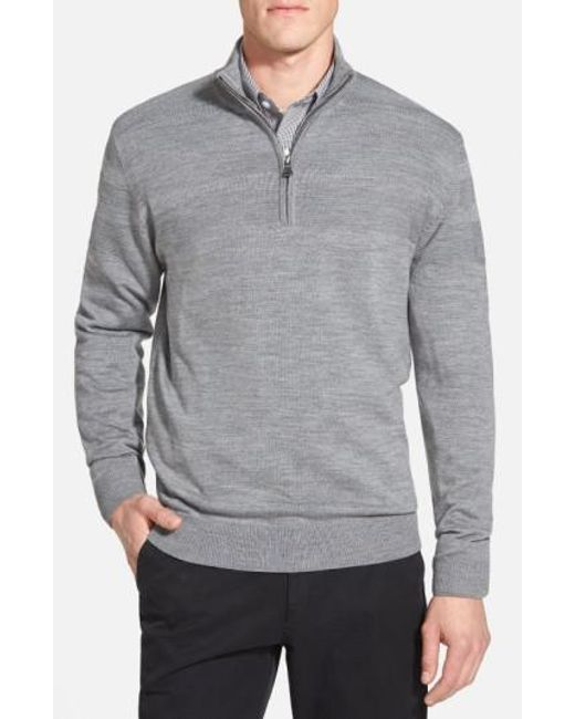 Cutter & Buck | Gray 'douglas' Merino Wool Blend Half Zip Sweater for Men | Lyst