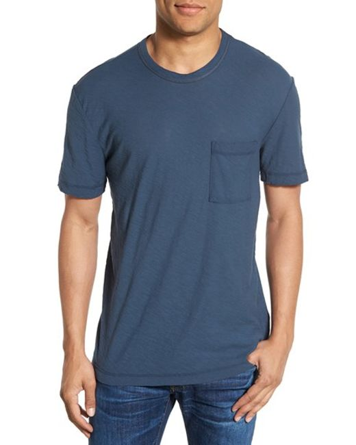 James perse classic slub crewneck pocket t shirt in blue for James perse t shirts sale
