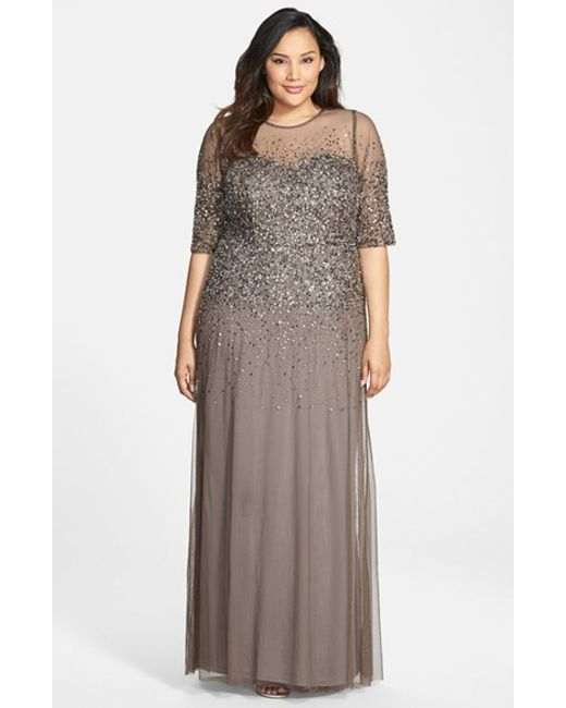 Adrianna Papell | Gray Beaded Illusion Gown | Lyst