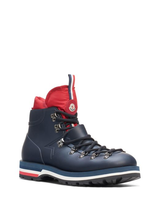 Moncler Blue Leather Ankle Boots for men