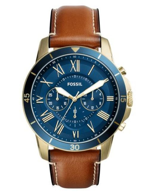 Fossil | Blue Grant Chronograph Leather Strap Watch for Men | Lyst