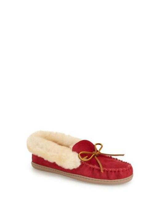 Minnetonka | Red Alpine Shearling Moccasin Slippers | Lyst