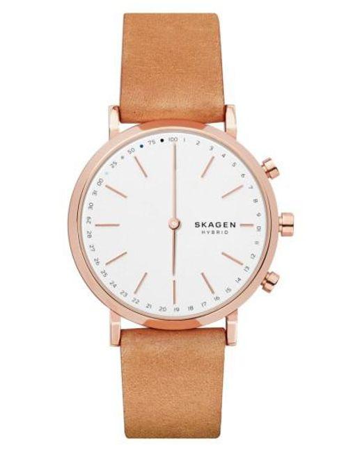 Skagen | Brown Hald Hybrid Leather Strap Smart Watch | Lyst