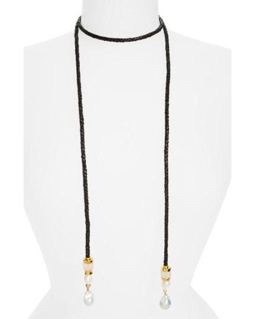 Lizzie Fortunato   Black Safari Pearl Lariat Necklace   Lyst