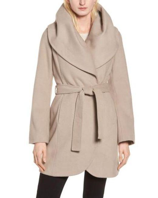 Tahari | Brown Wool Blend Belted Wrap Coat | Lyst